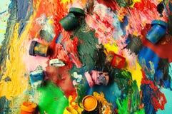 Pudełek i nafcianych farb stubarwnego zbliżenia abstrakcjonistyczny tło fr Zdjęcie Royalty Free