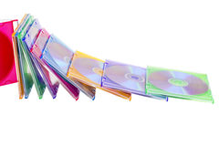pudełek kolorowy dvds rozsypisko wypiętrzający Obrazy Stock