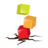 pudełek krakingowych sześcianów spadać ziemia Obraz Stock