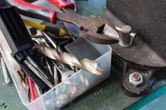 Pudełek narzędzia, akcesoria pudełko Zdjęcie Royalty Free