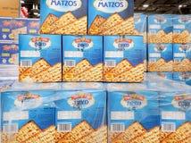 Pudełka Koszerni dla Passover Matzot, dla sprzedaży przy supermarketem fotografia royalty free