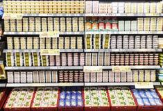 Pudełka rybi jajka wystawiający w supermarket chłodni Obraz Stock