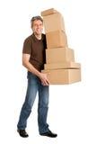 pudełka target938_1_ doręczeniowego mężczyzna stertę fotografia stock