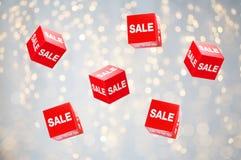 Pudełka z sprzedażą podpisują wakacji światła Zdjęcie Stock