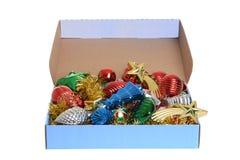 Pudełko antykwarscy boże narodzenie ornamenty Obraz Stock
