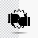 Pudełko, boks, rywalizacja, walka, rękawiczka glifu ikona na Przejrzystym tle Czarna ikona ilustracji