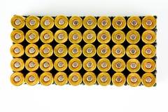Pudełko 50 kawałków 9 mm pistoletowych amunicji - odgórny widok obrazy royalty free