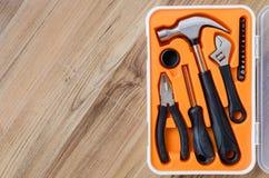 Pudełko set metali pracujący narzędzia Obraz Royalty Free