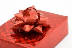 pudełko widok czerwony tasiemkowy błyszczący widok Obrazy Stock