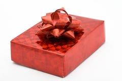 pudełko widok pełny czerwony tasiemkowy błyszczący Fotografia Stock