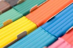 Pudełko z barwiącą plasteliną elongated kształt Fotografia Stock