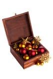 Pudełko z bożych narodzeń baubles Zdjęcia Royalty Free