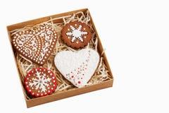Pudełko z imbirowymi ciastkami fotografia stock