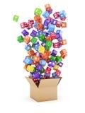 Pudełko z obłocznymi podaniowymi ikonami Zdjęcia Stock
