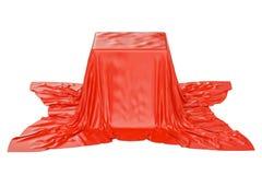 Pudełko zakrywający czerwony płótno, 3D rendering royalty ilustracja