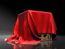 Pudełko zakrywający od czerwonego jedwabniczego płótna nad ilustracja wektor