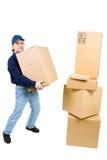 pudełkowaci kartonowi carryinng mężczyzna potomstwa zdjęcia stock