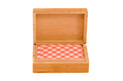 pudełkowate karty odizolowywam bawić się drewniany Fotografia Royalty Free