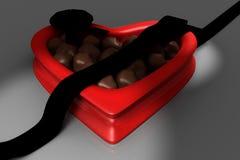 pudełkowatego cukierku czekoladowy serce kształtujący Obraz Stock