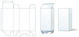 pudełkowatego kartonu kostkowy robi cechowanie kroczy trzy ilustracja wektor