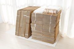 pudełkowatego kartonu odosobneni cienie biały Obraz Stock
