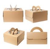 pudełkowatego kartonu odosobneni cienie biały zdjęcia royalty free