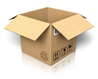 pudełkowatego kartonu pusty rozpieczętowany Obraz Royalty Free