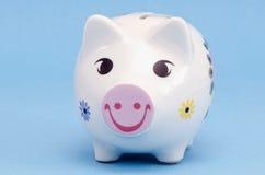 pudełkowatego pieniądze świniowaty oszczędzania biel Fotografia Royalty Free