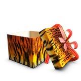 pudełkowatego prezenta otwarty czerwonej taśmy tygrys Zdjęcia Stock