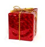 pudełkowatego prezenta złocisty czerwony faborek Zdjęcie Stock