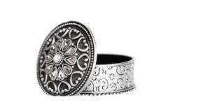pudełkowatej biżuterii otwarty srebro Fotografia Stock
