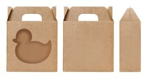 Pudełkowaty brown nadokienny kaczka kształt ciący out Pakujący szablon, Pusty karton odizolowywający Kraft pudełka biały tło, pud Obraz Stock