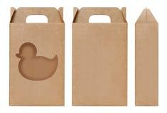 Pudełkowaty brown nadokienny kaczka kształt ciący out Pakujący szablon, Pusty karton odizolowywający Kraft pudełka biały tło, pud Obraz Royalty Free