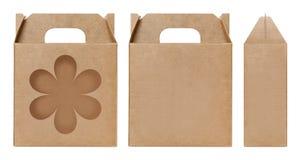 Pudełkowaty brown nadokienny kwiatu kształt ciący out Pakujący szablon, Pusty karton odizolowywający Kraft pudełka biały tło, pud Obraz Royalty Free