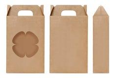 Pudełkowaty brown nadokienny kwiatu kształt ciący out Pakujący szablon, Pusty karton odizolowywający Kraft pudełka biały tło, pud Fotografia Stock