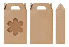 Pudełkowaty brown nadokienny kwiatu kształt ciący out Pakujący szablon, Pusty karton odizolowywający Kraft pudełka biały tło, pud Fotografia Royalty Free
