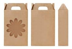 Pudełkowaty brown nadokienny kwiatu kształt ciący out Pakujący szablon, Pusty karton odizolowywający Kraft pudełka biały tło, pud Obrazy Stock