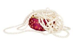 pudełkowaty chiński kolii perły czerwieni jedwab Zdjęcia Royalty Free