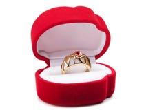 pudełkowaty czerwieni pierścionku ślub Zdjęcie Royalty Free
