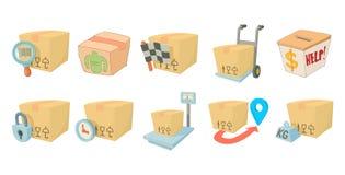 Pudełkowaty ikona set, kreskówka styl royalty ilustracja