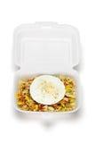 pudełkowaty jajko smażący otwarty ryżowy styrofoam Zdjęcia Stock