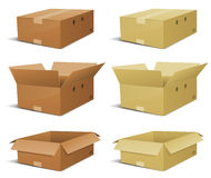 pudełkowaty kartonowy doręczeniowy set Obrazy Stock