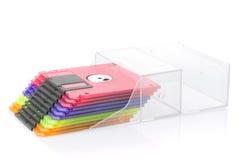 pudełkowaty koloru dysków floppy odizolowywał Zdjęcie Stock