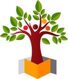 Pudełkowaty ludzki drzewny logo ilustracji