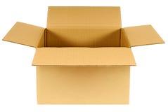 Pudełkowaty, otwarty prosty brown pusty karton odizolowywający na białym tle, Fotografia Royalty Free