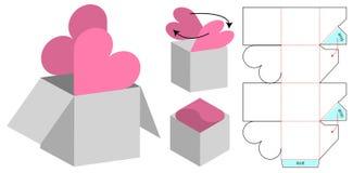 Pudełkowaty pakuje kostka do gry szablonu rżnięty projekt 3d egzamin próbny royalty ilustracja