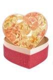 pudełkowaty serca teraźniejszości kształt Obraz Stock