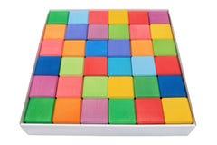 Pudełko kolorowi drewniani bloki Zdjęcie Stock