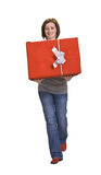 pudełkowata prezenta czerwieni kobieta Obraz Stock
