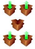 pudełkowatej ikony otwarty papier Obraz Stock